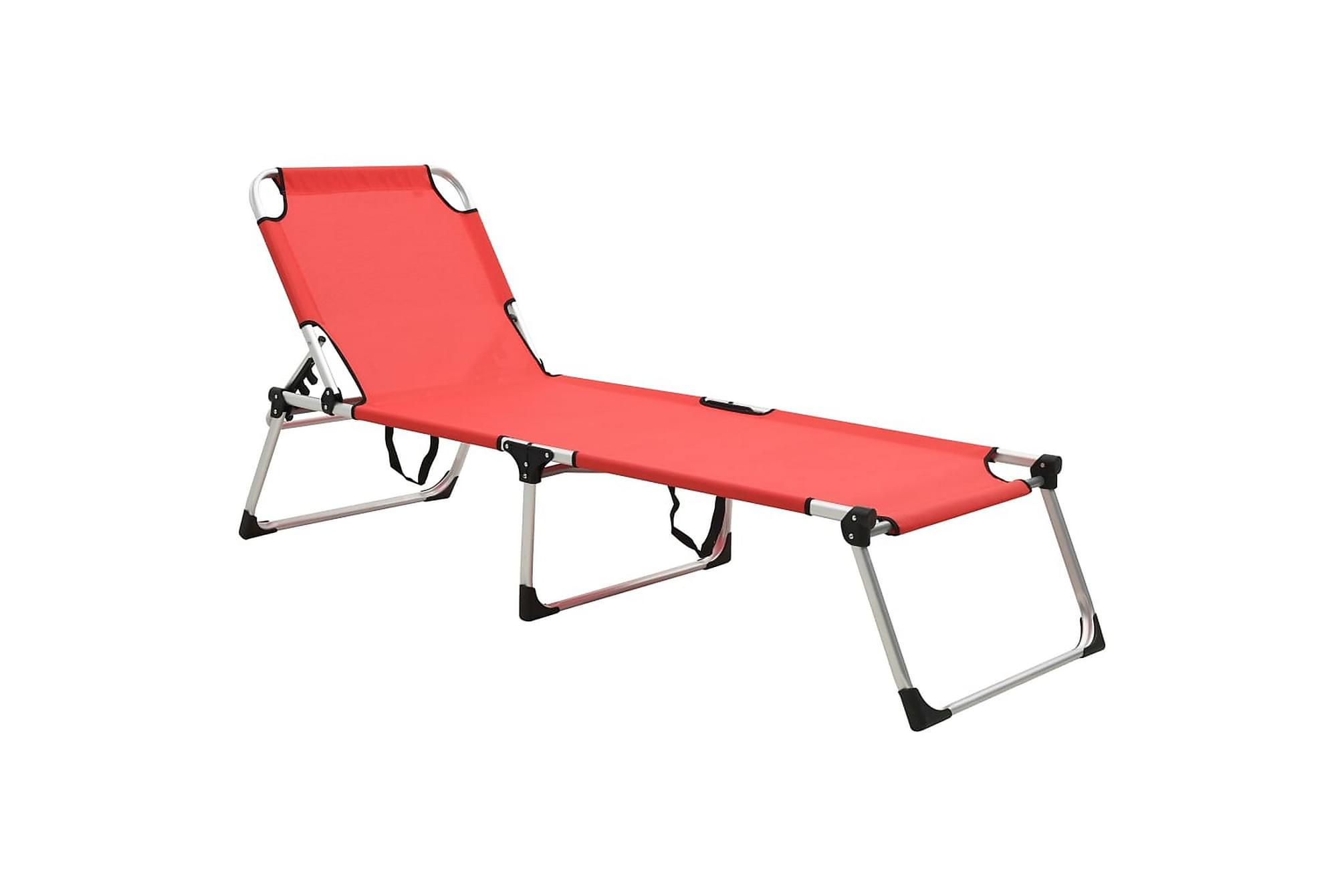 Extra hög solstol för seniorer hopfällbar röd aluminium, Solstol