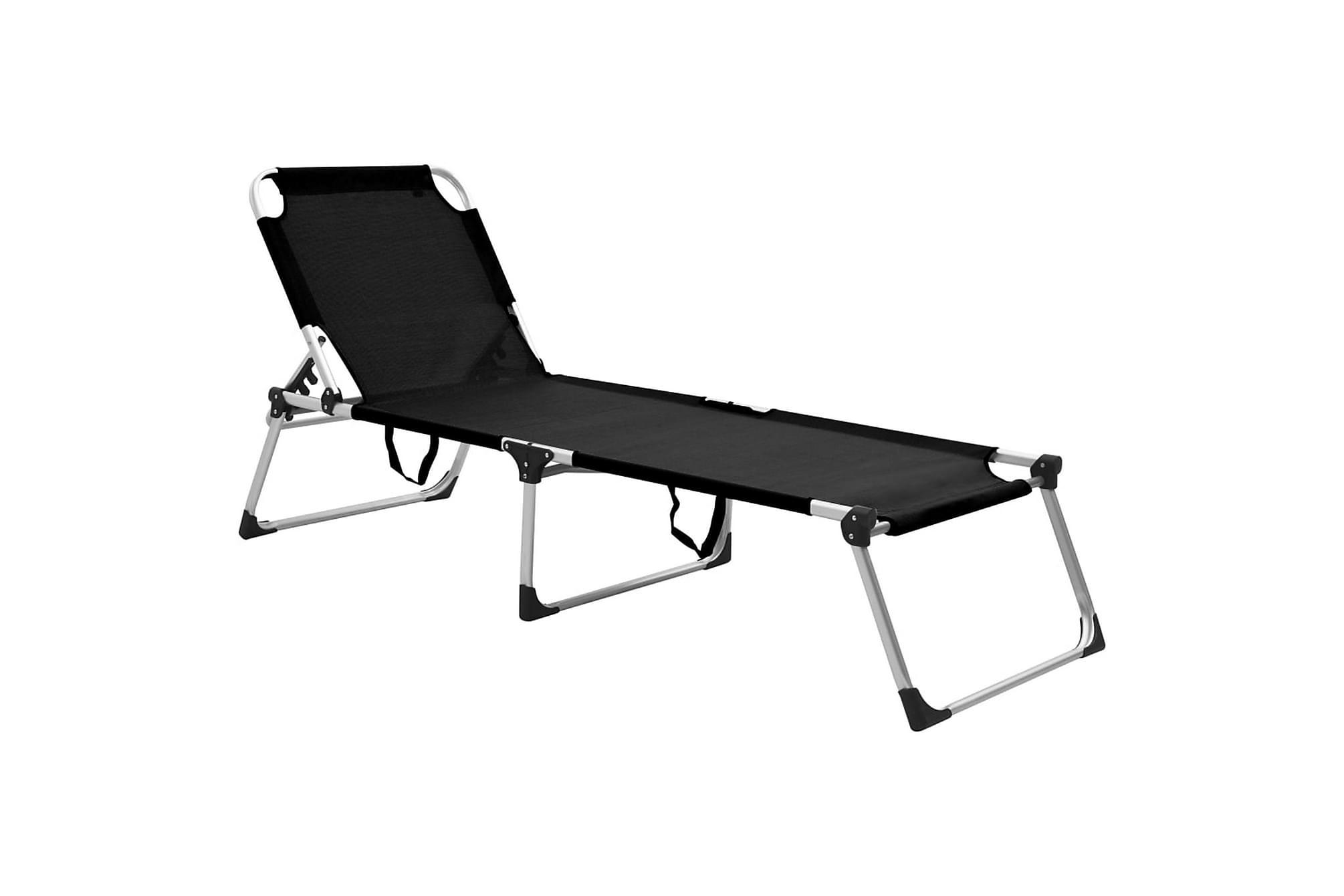 Extra hög solstol för seniorer hopfällbar svart aluminium, Solstol