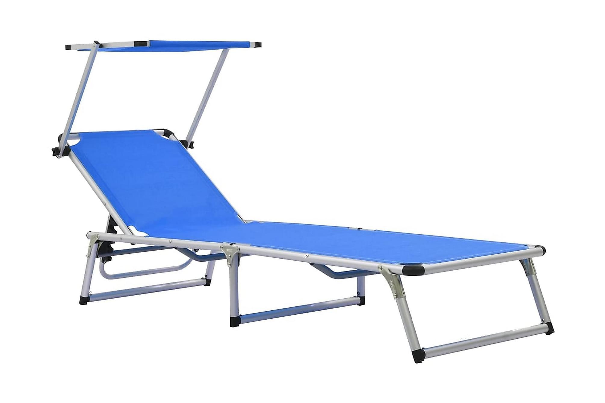 Hopfällbar solsäng med tak aluminium och textilen blå, Solstol