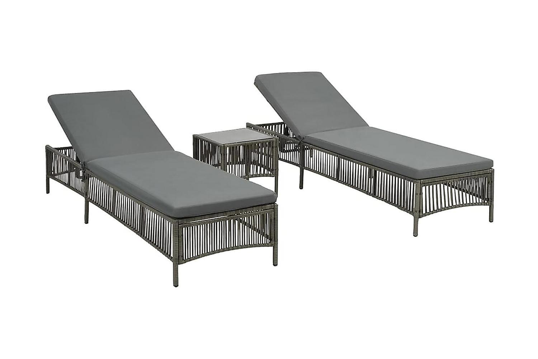 Solsängar 2 st med bord konstrotting grå, Solstol