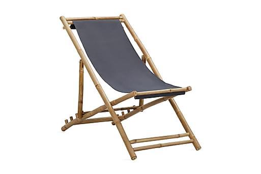 Solstol bambu och kanvas mörkgrå, Solstol