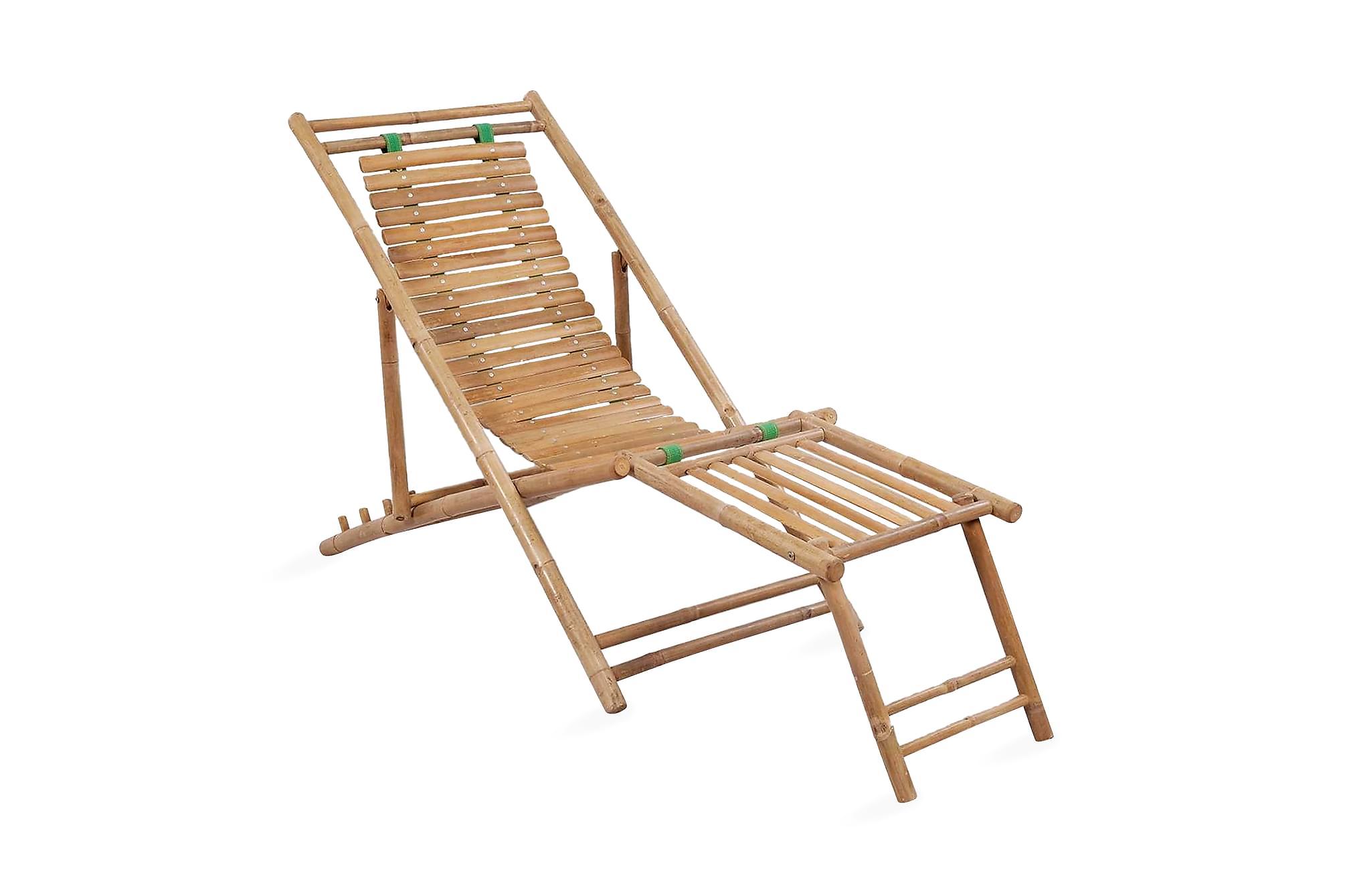 Solstol med fotstöd bambu