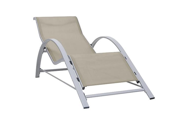 Solstol textilen och aluminium gräddvit - Kräm - Utemöbler - Utestolar - Solstol