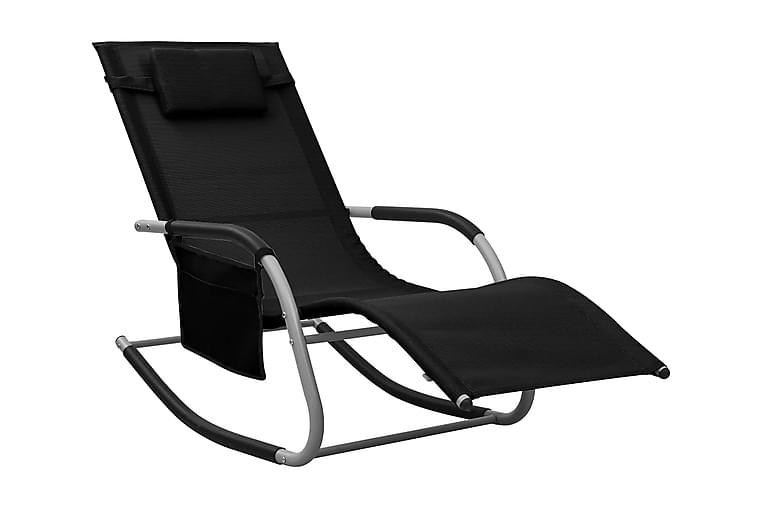 Solstol textilen svart och grå - Svart - Utemöbler - Utestolar - Solstol