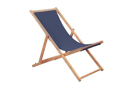 Hopfällbar strandstol tyg och träram blå, Utefåtöljer
