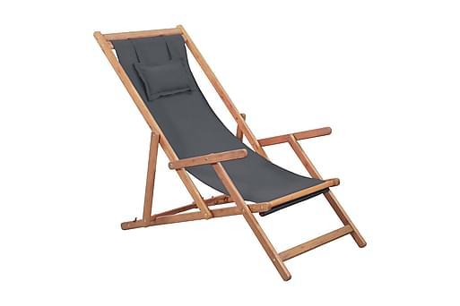 Hopfällbar strandstol tyg och träram grå, Utefåtöljer