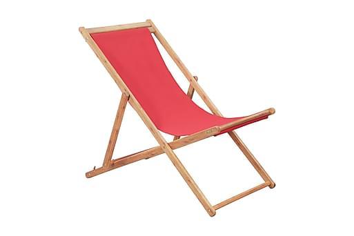 Hopfällbar strandstol tyg och träram röd, Utefåtöljer