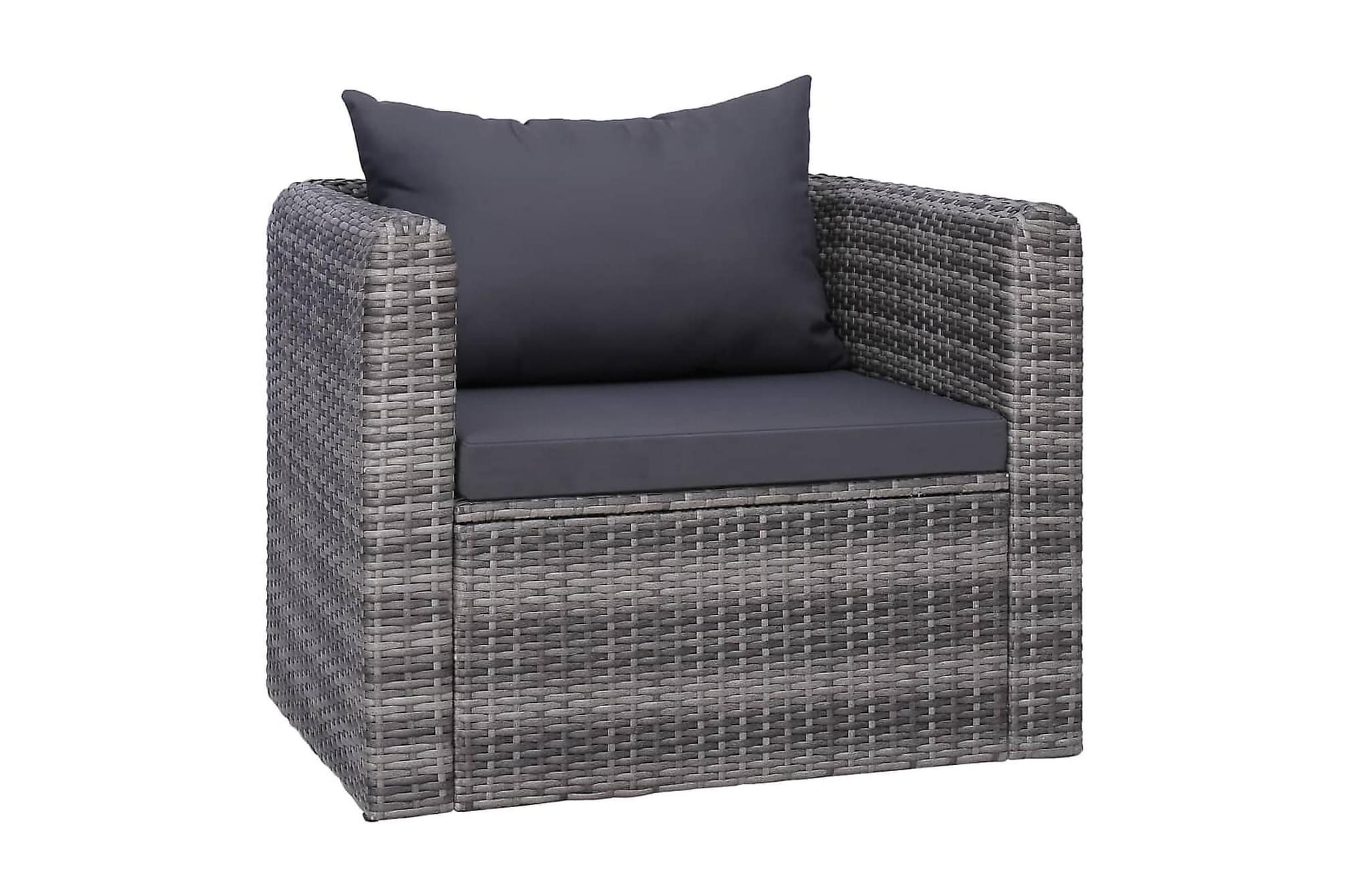 Trädgårdsstol med dyna och kudde konstrotting grå