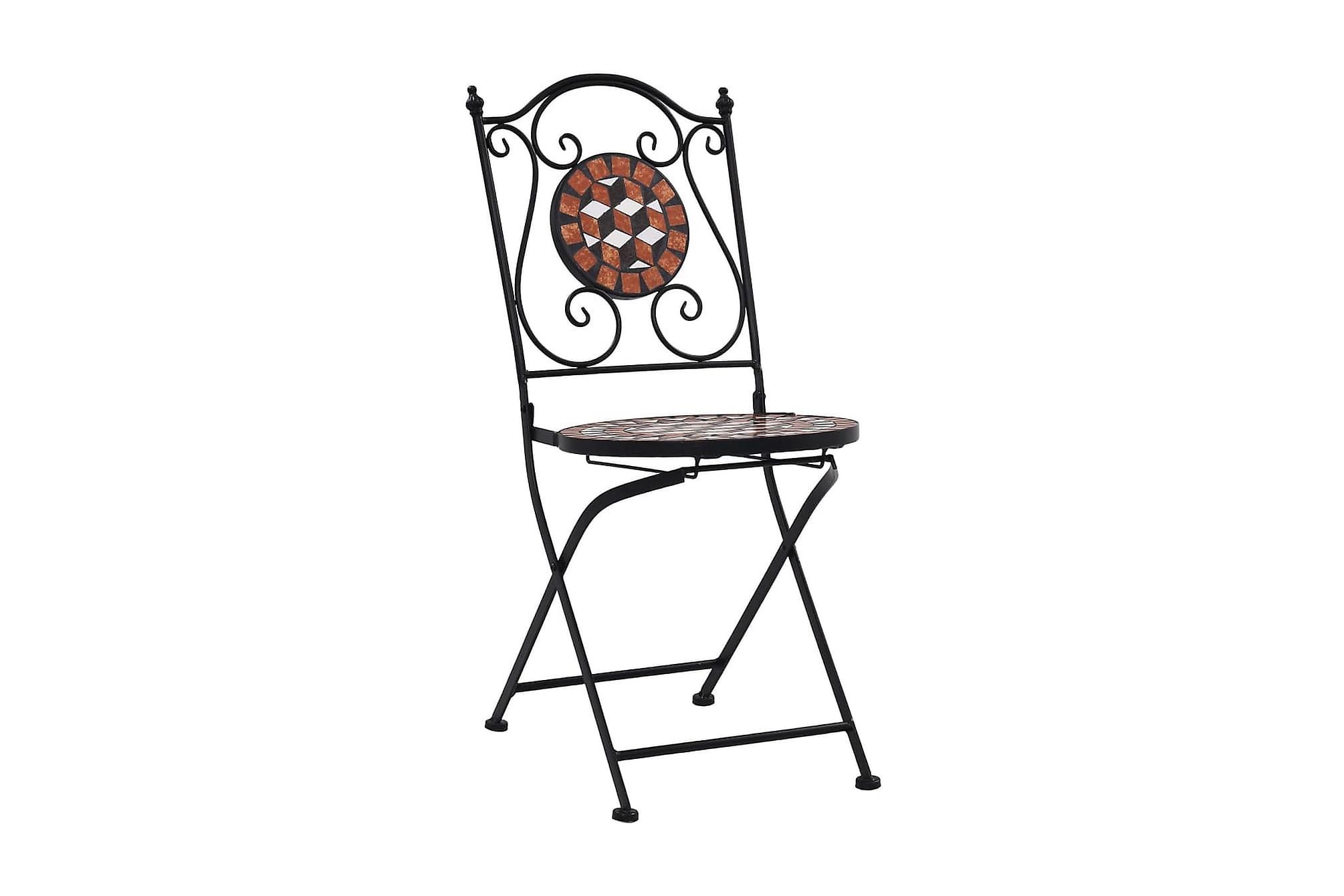 Caféstolar i mosaik 2 st brun keramik