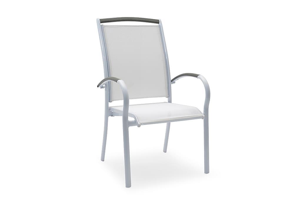 NYDALA Stapelstol Vit/Grå - Utemöbler - Balkongmöbler - Balkongstolar