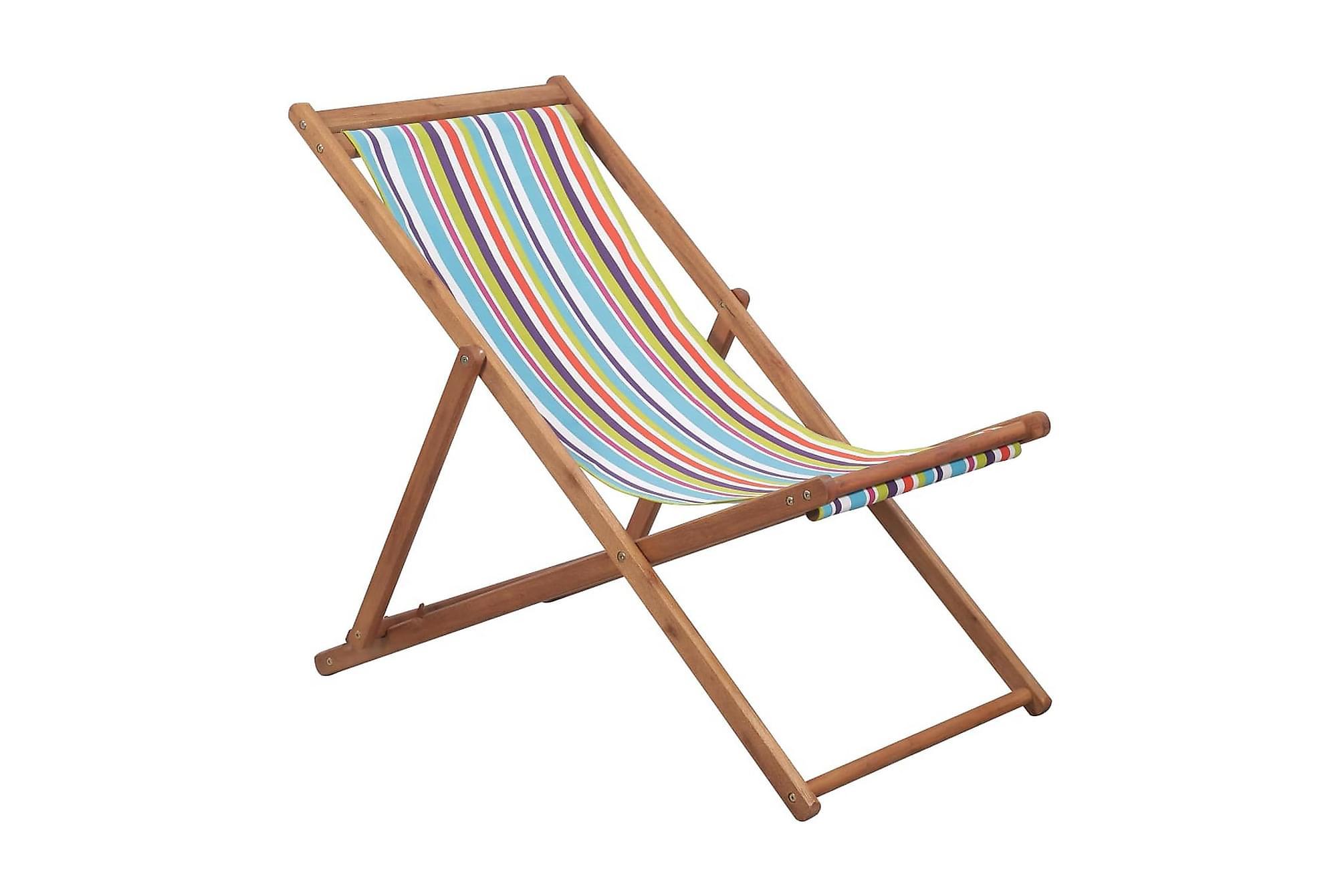 Hopfällbar strandstol tyg och träram flerfärgad, Utestolar