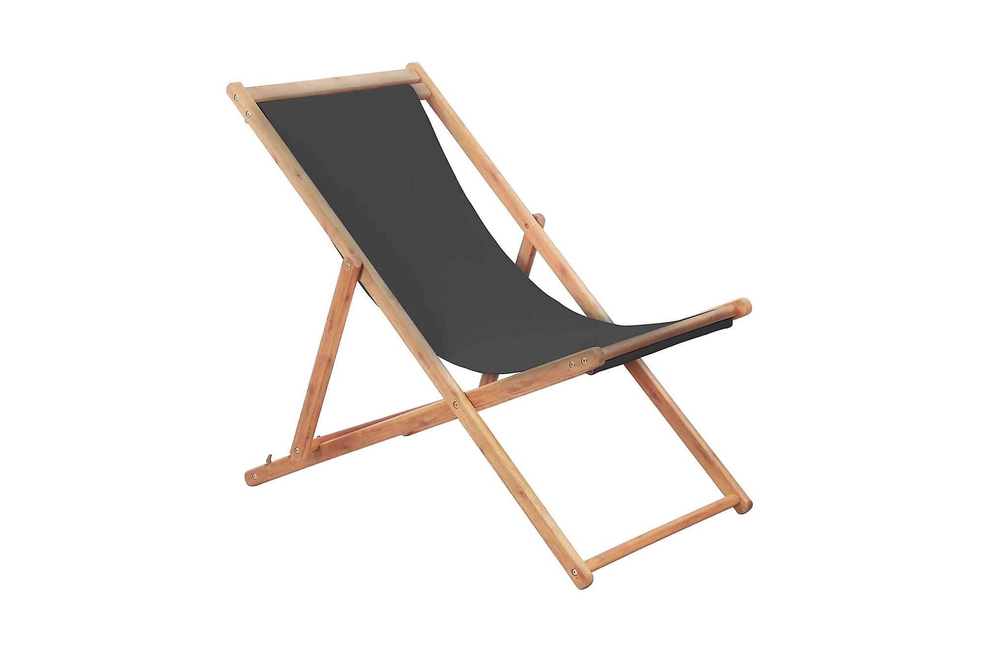 Hopfällbar strandstol tyg och träram grå, Utestolar